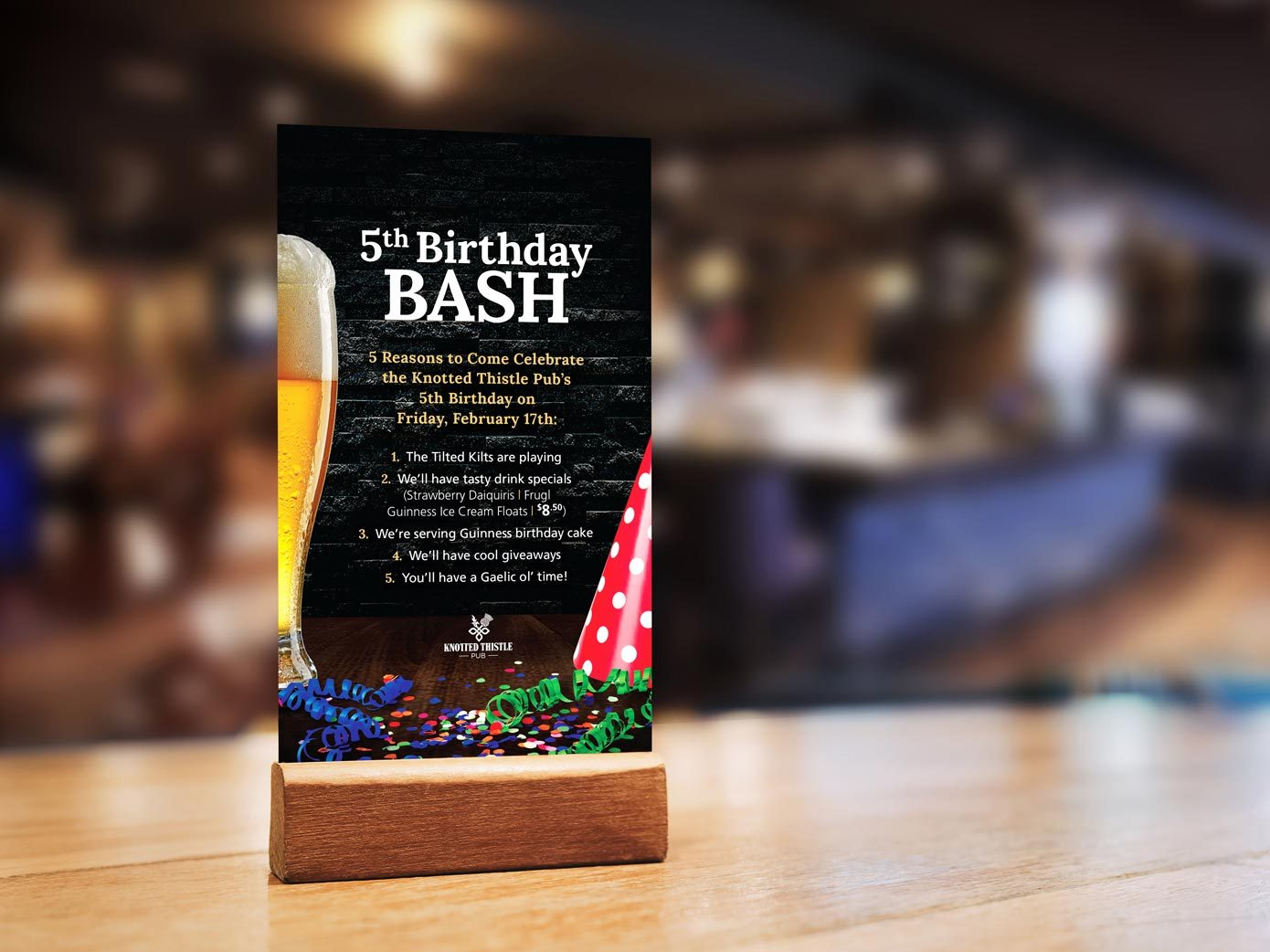Work - Knotted Thistle Birthday Table Card
